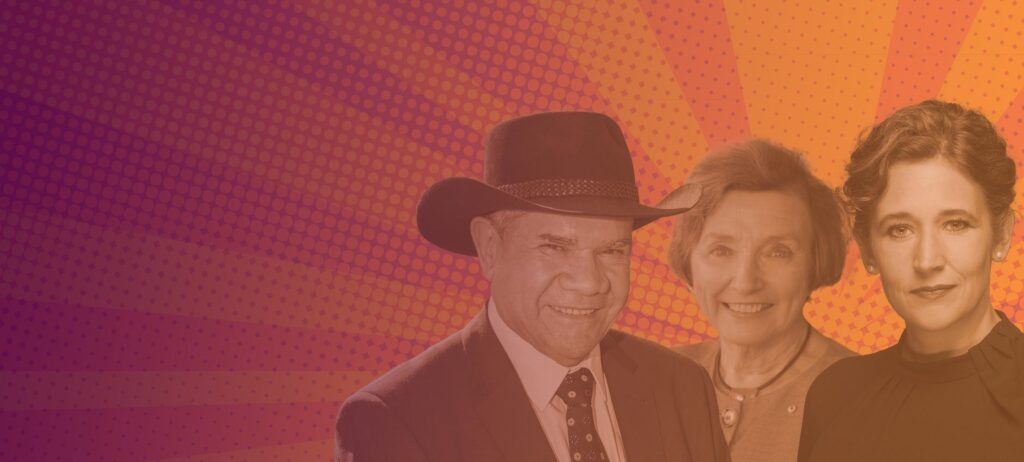 Mick Dodson, Andrea Maier and Kathryn Greiner